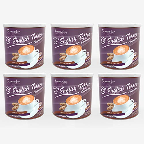 English Toffee Cappuccino - Victorian Inn Instant Cappuccino, English Toffee, 16-Ounce Canisters (Pack of 6)