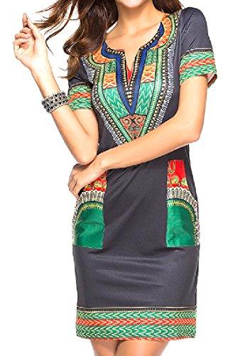 Vestito 4 manicotto donne Bicchierino Aderente Afro Coolred Elegante Dashiki xSRqUx1A