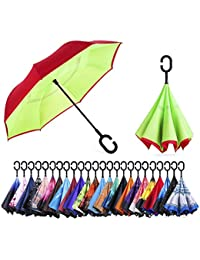 Reverse/Inverted Double-Layer Waterproof Straight Umbrella, Self-Standing & C-Shape Handle & Carrying Bag for Free Hands, Inside-Out Folding for Car Use