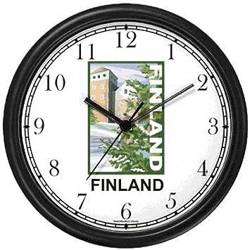 Amazon.com: Finlandia Cartel de viaje Reloj de pared por ...