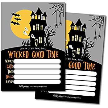 25 Haunted House Halloween Party Invitation Cards For Kids Adults Vintage Birthday Or Wedding Bridal