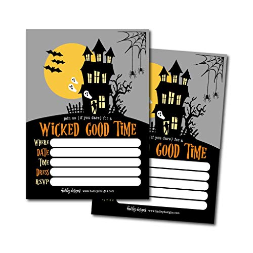 25 Haunted House Halloween Party Invitation Cards for Kids Adults, Vintage Birthday or Wedding Bridal Baby Shower Paper Invites, Scary Costume Dress up, DIY Horror Spooktacular Bash Idea Printable]()