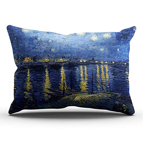 (DOUMIFA Van Gogh Starry Night Over The Rhone Pillowcase Home Sofa Decorative 20x36 King Throw Pillow Case Decor Cushion Covers One Sided Printed)