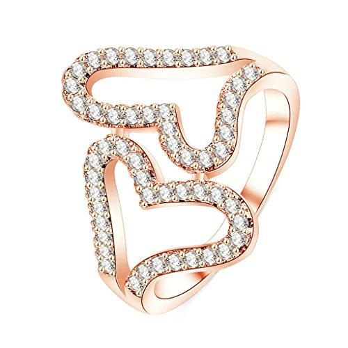 Daesar Gold Plated Womens Wedding Rings Rose Gold CZ Ring Heart to Heart Rings Round CZ Rings US:7