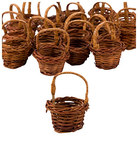 - Mini Baskets- 24-Pack Miniature Woven Baskets with Handles, Mini Round Baskets, Small Country Baskets, for Parties, Gardens, Home Decoration, Brown, 1.75 x 1.75 x 2.7 Inches