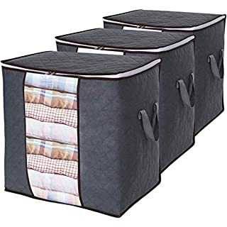 Lifewit Clothes Storage Bag 90L Large Capacity Organizer with Reinforced Handle Thick Fabric for Comforters, Blankets, Bedding, Foldable with Sturdy Zipper, Clear Window, 3 Pack, Grey