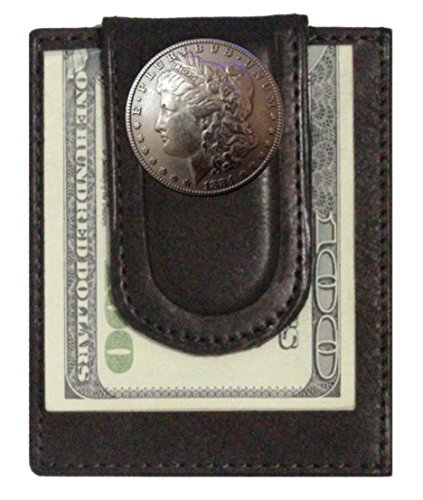 Custom Morgan Dollar Heads Paul and Taylor Money Clip Wallet Brown ()