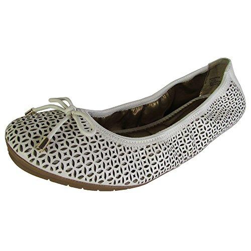 (Me Too Womens Livia Leather Ballet Flat Shoes, White Nappa 8.5 )