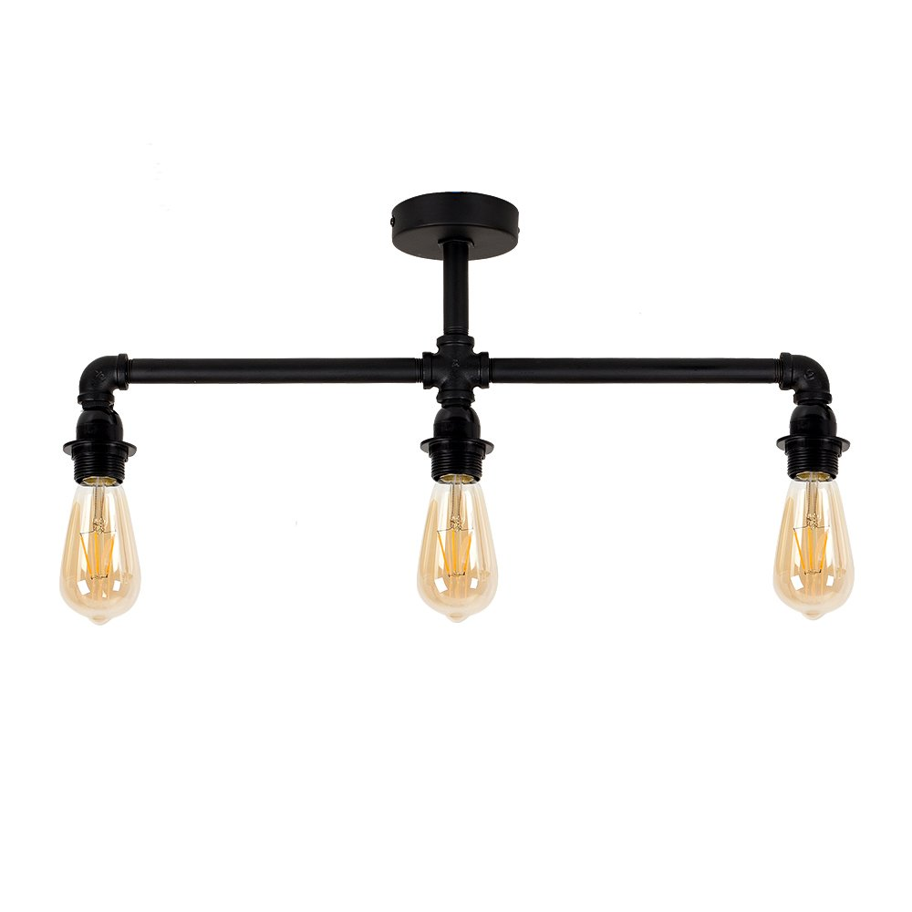 Industrial Steampunk Style Satin Black 3 Way Bar Pipework Ceiling Light Fitting MiniSun