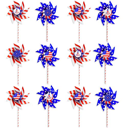VHALE 12 Pack DIY Patriotic Paper Windmill Pinwheels Spinner for 4th of July, Independence Day, Memorial Day, Veteran Day, American Flag, Classroom Crafts, Garden Lawn Decor and Party Favors for Kids