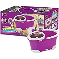 1 x Tornado Stainless Steel Magic Spin Mop with 2 Microfibre Mop Heads - Purple