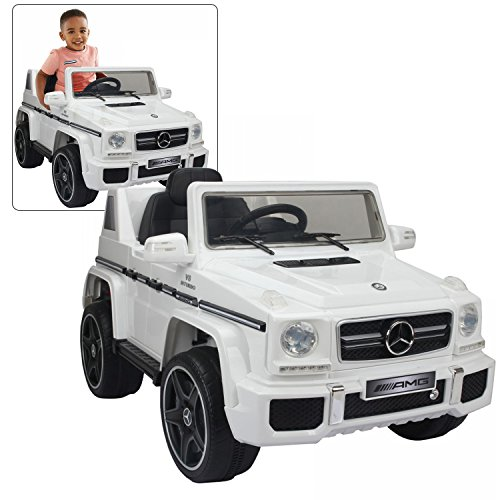 Official Licensed Mercedes Benz Ride On Car With Remote Control For Kids | 12V Power Battery AMG G63 Kid Car To Drive With 2.4G Radio Parental Control White