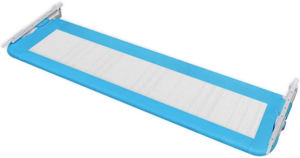 2 pcs Toddler Safety Bed Rail 102x42 cm Blue Portable Single Toddler Bed Protection Guard Folding Infant Baby Bedrail for 18 Month to 5 Years Child