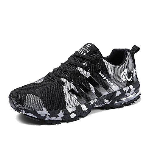 Ahico Womens Tennis Shoes - Air Cushion Running Shoe Women Sneakers Lightweight Walking Breathable Women's Athletic Cross Training Sport Black Size 7