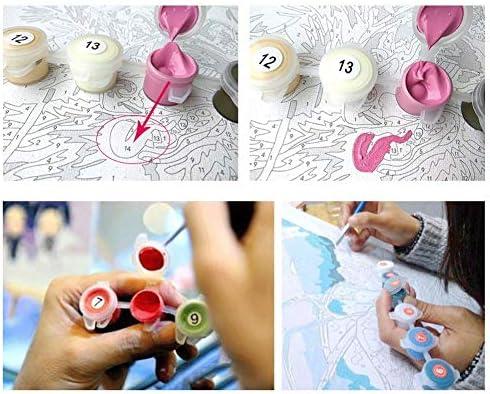 Hagreat Dipingi con i Numeri Kit di Pittura acrilica Fai-da-Te per Bambini e Adulti 16x20 Pollici con Pennello Decora la casa Regalo Senza Cornice
