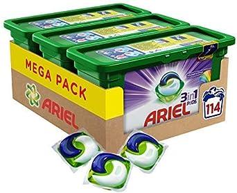 TALLA Pack of 3 (114 Washes). Ariel vainas de 3en 1color y estilo lavado cápsulas–Paquete de 3(114lavados)