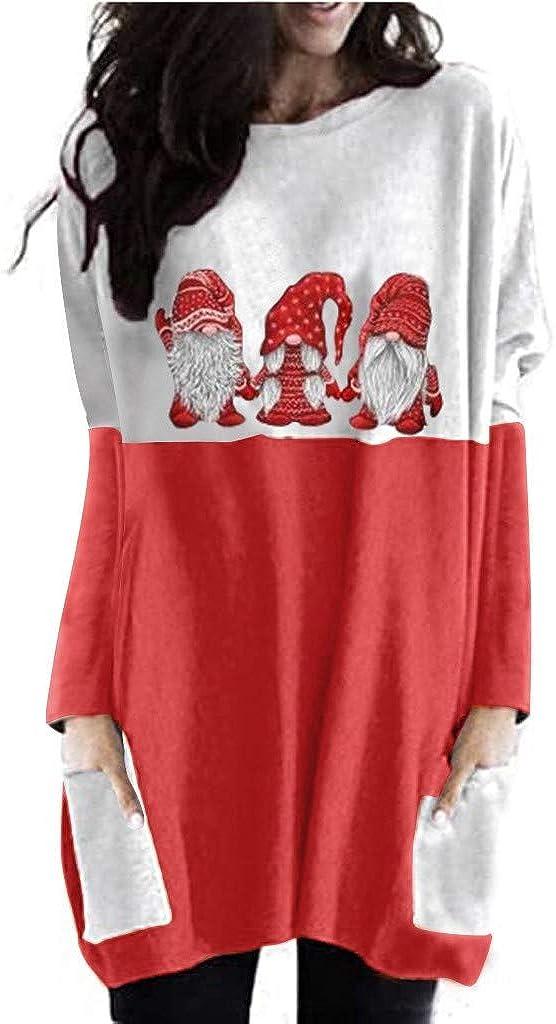 Women Tops,Womens Long Sleeve Pullover Winter Christmas Print ing Sweatshirt Lady Santa Claus Plus Size Tee Blouse Sale