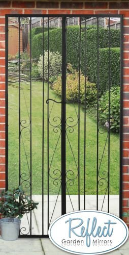 Attractive 6ft X 3ft Black Gate Effect Metal Garden Mirror