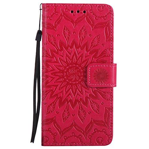 Carcasas y fundas Móviles, Para Samsung Galaxy J7 Prime Case, Sun Flower Diseño de la impresión PU cuero Flip Wallet funda protectora con ranura para tarjeta / soporte para Samsung Galaxy J7 Prime / O Red