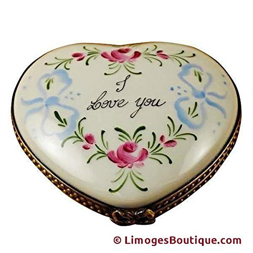 I LOVE YOU HEART - LIMOGES PORCELAIN FIGURINE BOXES AUTHENTIC IMPORTS