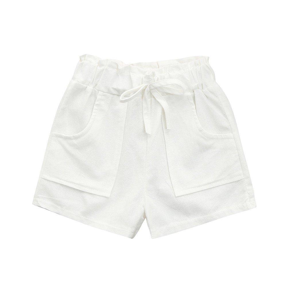 feiXIANG Ropa de Verano para niños niña bebé niña Color sólido Pajarita Cuerda Pantalones Cortos Pantalones Cortos de Playa Ropa: Amazon.es: Electrónica