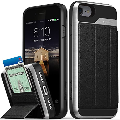 iPhone 8 Wallet Case, iPhone 7 Wallet Case, Vena [vCommute][Military Grade Drop Protection] Flip Leather Cover Card Slot Holder with KickStand for Apple iPhone 8 / iPhone 7 (Space Gray / Black) (Up Phones Cell Flip)