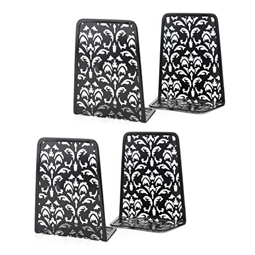 Fasmov Bookends Carved Hollow Flower Pattern Art Bookend, 2 Pairs