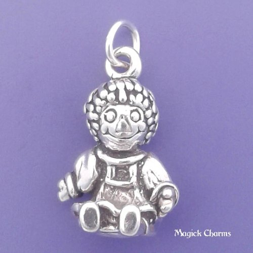 Raggedy Ann Dance - Sterling Silver 3-D RAG DOLL Raggedy Ann Charm Pendant- lp2450 Jewelry Making Supply Pendant Bracelet DIY Crafting by Wholesale Charms
