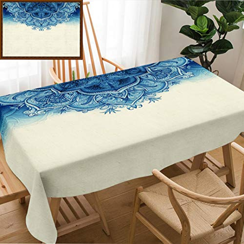 Skocici Unique Custom Design Cotton and Linen Blend Tablecloth Retro Vintage Wedding Greeting Card Blue Background Card Or Invitation Vintage Decorative Tablecovers for Rectangle Tables, 70