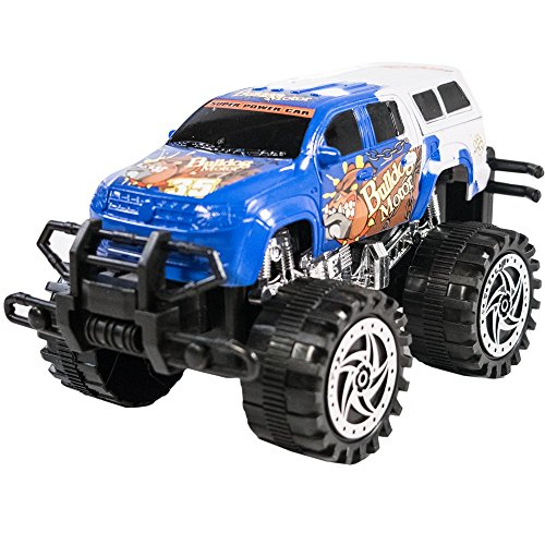 TukTek Kids First Friction Powered Super Jacked Up Mini Monster Truck Toy Blue