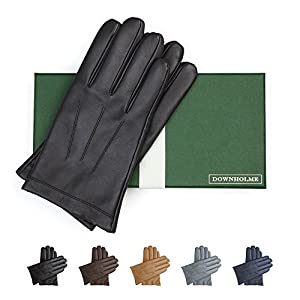 Downholme Classic Leather Cashmere Lined Gloves for Men