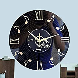 Crazy ogdre Musical Note Vinyl Record Wall Clock Living Room Bedroom Wall Personality Art Deco Wall Clock 12 Inches