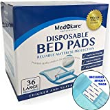 Medokare Disposable Incontinence Bed Pads - Hospital 1500ml Disposable Underpads for Elderly Adults Kids Disposable Bed Mats Liner, 10g SAP Waterproof Pads for Bed, Mattress Protector (36Pads w/Tags)