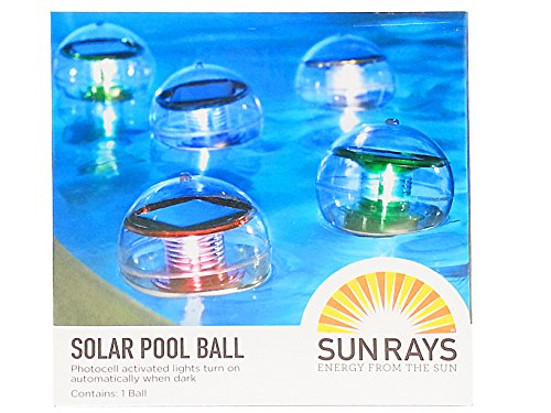 Solar Swimming Pool Lighting Ball, 4.3 inches Diameter –Floating or Hanging Light for Pool Garden Outdoor Landscape– Green by SunRays