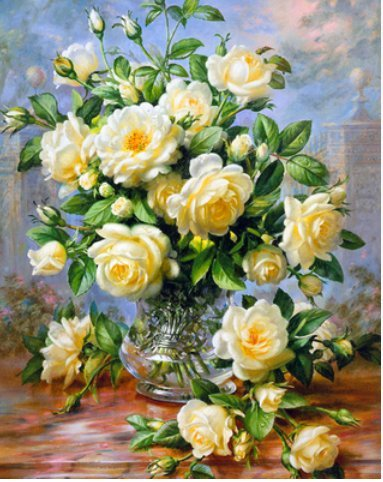 YEESAM ART New 5D Diamond Painting Kit - Yellow Rose - DIY Crystals Diamond Rhinestone Painting Pasted Paint by Number Kits Cross Stitch Embroidery - Two Yellow Roses