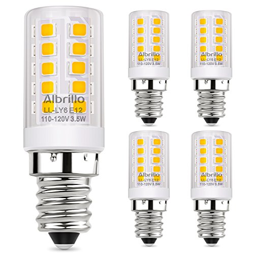 Albrillo E12 LED Bulb, 40 Watt Candelabra Bulbs Equivalent, Soft White 3000K LED Chandelier Light Bulbs, Candle Base Non Dimmable LED Lamp, Pack of 5