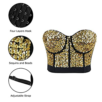 Charmian Women's Burlesque Fashion Beaded Sequins Push Up Crop Top Bustier Bra at Women's Clothing store
