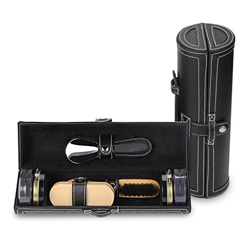 11 in 1 Travel Shoe Shine Kit with PU Leather Sleek Elegant Case Black by TOCGAMT (Image #2)