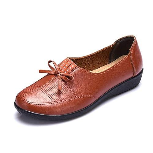 Zapatos De Mujer Confort Pisos Primavera OtoñO ResbalóN SóLido Bowtie Mocasines Vestido Trabajo Mocasines Casual: Amazon.es: Zapatos y complementos