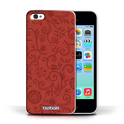 Etui / Coque pour Apple iPhone 5C / Fleur rouge conception / Collection de Motif Remous floral