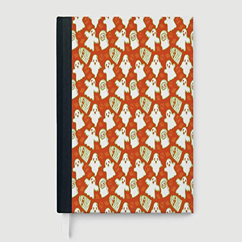 Composition Book/Notebook,Burnt Orange,Case Bound Notebook,Funny Halloween and Demon Graphic on Skull and Bat Background Design Home Decorative,96 Ruled Sheets,A5/8.24x5.73 -