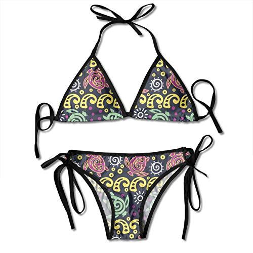 Batik Turtles Waves Ladies Women Girl Summer Dress Beach Outfit Set Bikini Two-Piece Swimsuit Merchandise Adult Costume Print Cupshe Female Bathing Suit Apparel Attire Black ()
