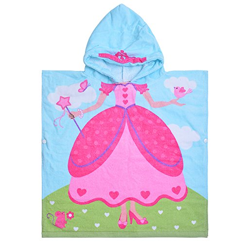 Hooded Bath Towel Princess for Girls Kids Toddlers 2 to 6 Years Old, 100% Premium Cotton Ultra Soft Absorbent Poncho Beach Towel for Pool Swim Pink 23