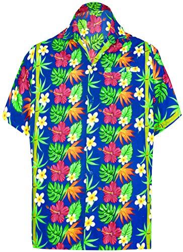 (LA LEELA Likre Soft Silk Printed Shirt Bright Blue 506 2XL |Chest 54
