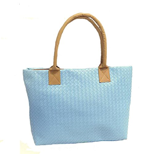 Blue Handbag Solid Ladies ANDAY Color Shoulder Weaved Yellow Capacity PU Bag Tote Large 4FWq78w