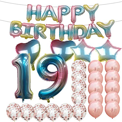 Sweet 19th Birthday Decorations Party Supplies,Rainbow Number 19