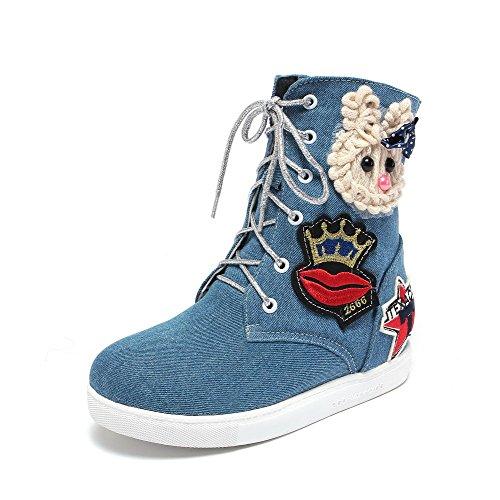 AllhqFashion Mujeres Cordones Puntera Redonda Mini Tacón Mezclilla Sólido Botas Azul