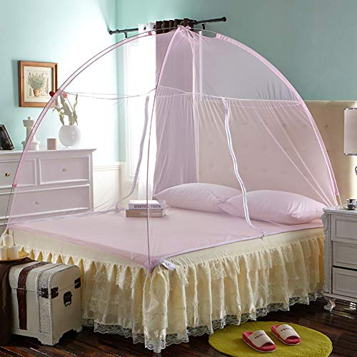 Mosquito Net Bed Canopy Yurt Dome Net-Free Installation and Folding Nets Prevent Insect Indoor and Outdoor Decorative 150CM,Pink,150200CM by LINLIN MOSQUITO NET (Image #7)