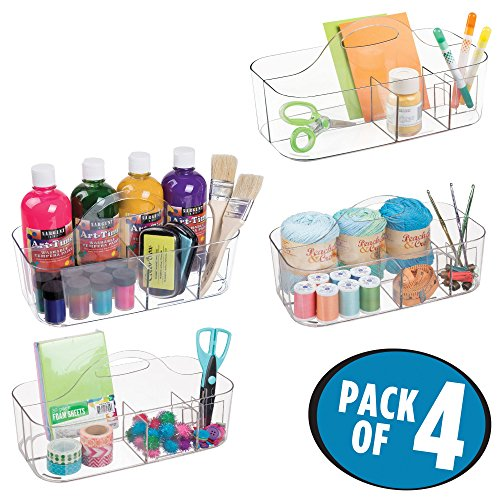 Stamp Caddy - mDesign Craft Storage Organizer Caddy Tote, Portable Divided Basket Bin with Integrated Handle - BPA Free, 6 Sections for Holding Paint, Paint Brushes, Colored Pencils, Yarn - Pack of 4, Clear