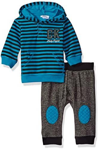 Calvin Klein Baby Boys' Stripes Hooded Pullover with Pants Set